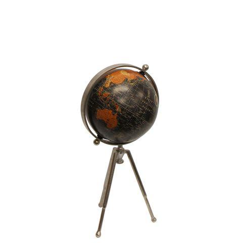 Small Black Globe on Stem Tripod Stand