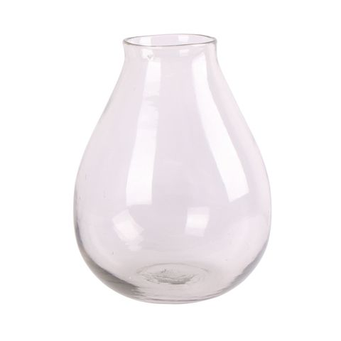 Large Rounded Hand Blown Glass Vase