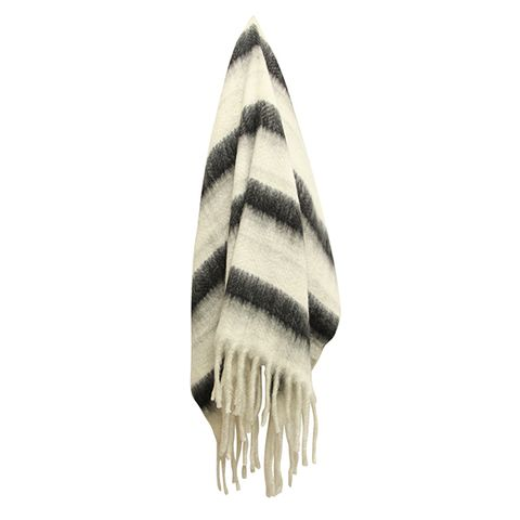 Zag Charcoal Stripe Throw
