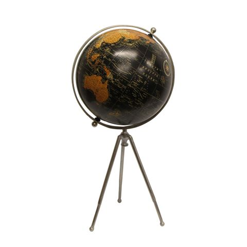 Large Black Globe on Stem Tripod Stand