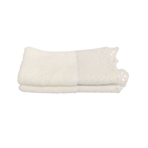 SET 2 Beaded White Embroidery Handtowel