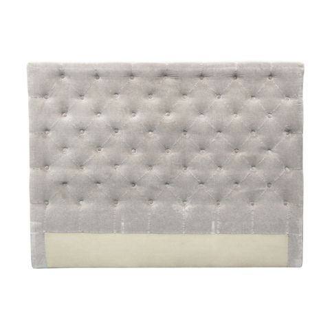 Button Bed Head Soft Grey Velvet King