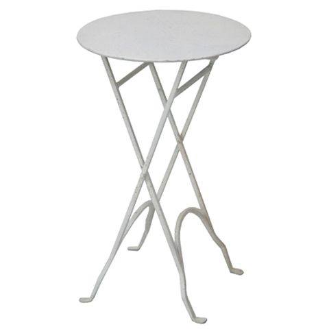 Round Narrow Cream Side Table with XLegs