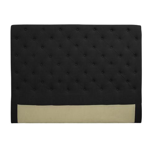 Button Bed Head Black Linen Queen