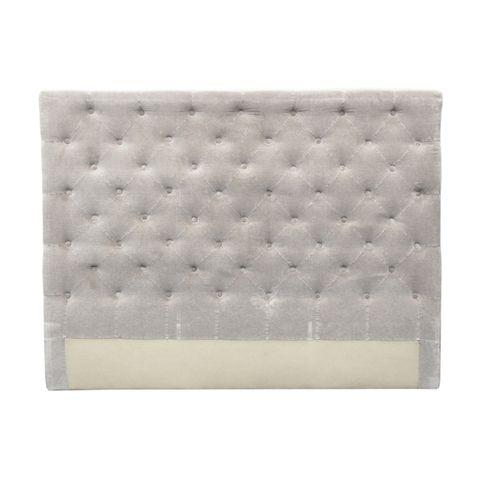 Button Bed Head Soft Grey Velvet Queen
