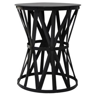 Black Iron Drum Small Side Table