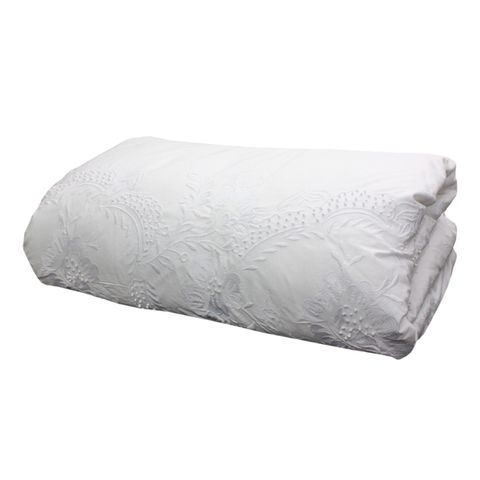 Embelli White Embroidered Queen Duvet Cover