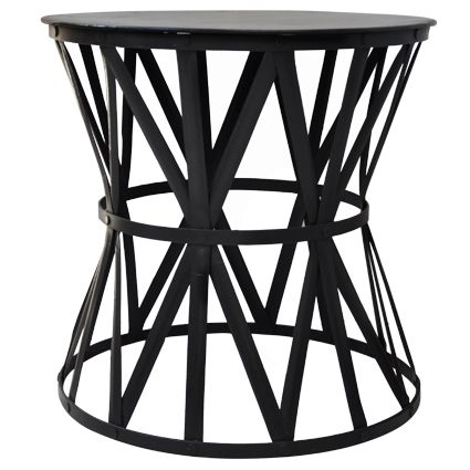 Black Iron Drum Large Side Table