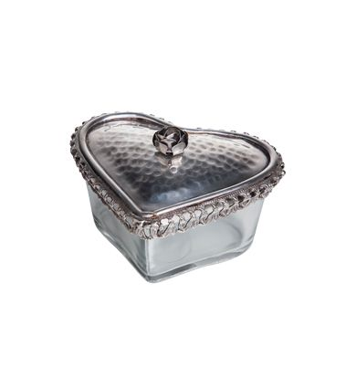 Glass Heart Box With Rose 16cmLx13cmWx10cmH