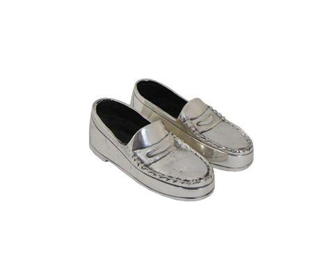Pair Of Silver Dress Shoes 12cmLx4.5cmWx4cmH