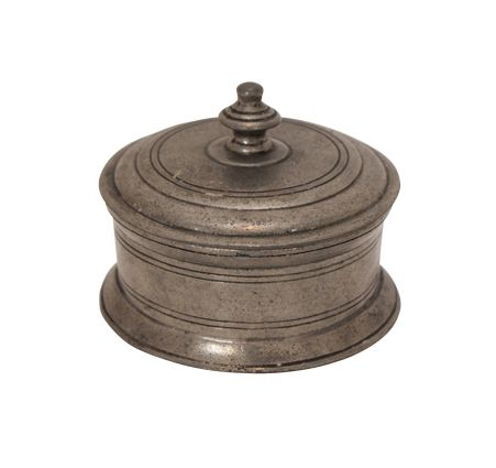 Pewter Round Box w/Knob 9cmHx10cmDia