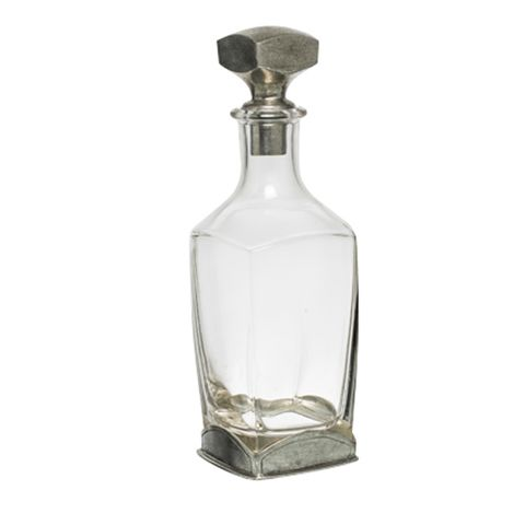 Square Glass Decanter w/Pewter Stopper 29cmH