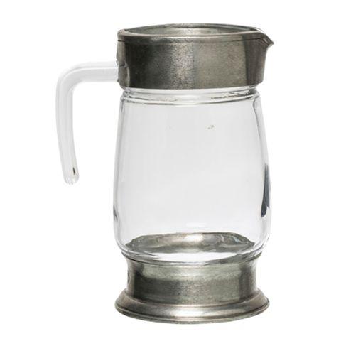 Medium Pewter and Glass Jug 22cmH
