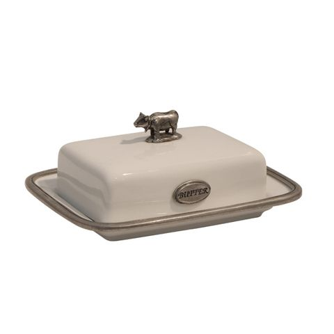White Porcelain and Pewter Butter Dish 10cmHx21cmL