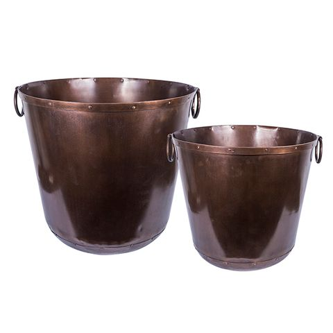Set 2 Copper Ring Planters