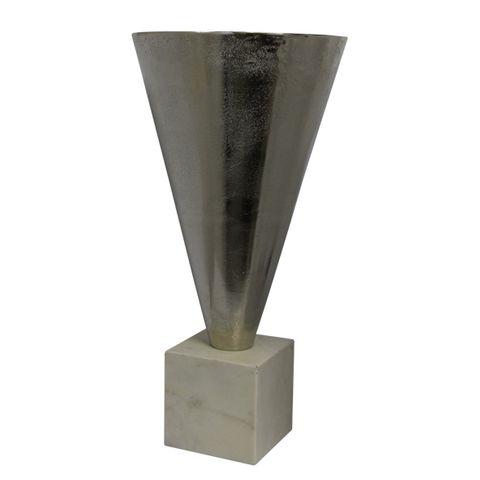 Tall Silver Cone Urn