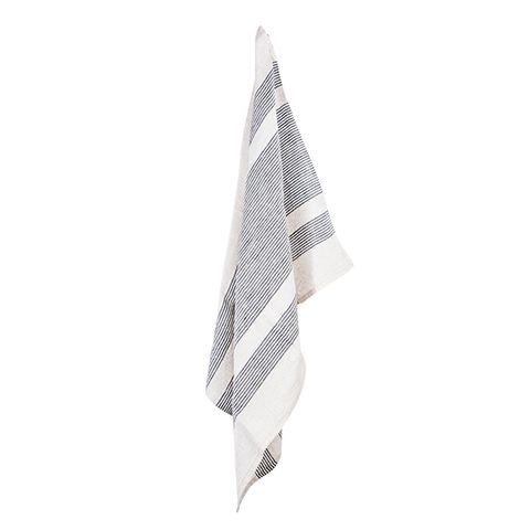 Woven Multi Stripe Tea Towel Natural & Black