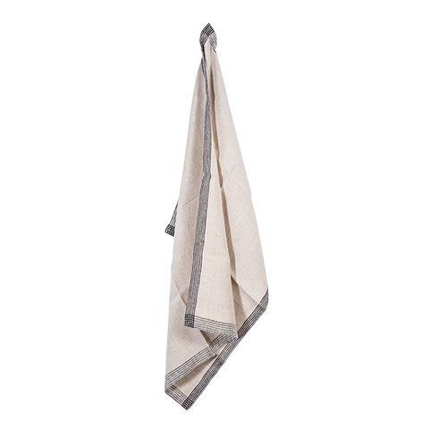 Woven Border Tea Towel Natural & Black
