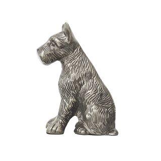 Scottie Dog Sitting Silver 15cmLx7cmWx18cmH