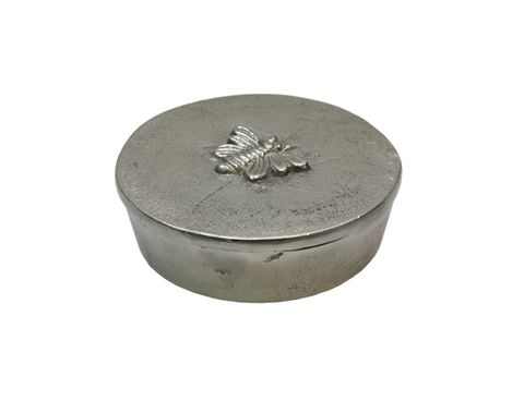 Round Silver Box with Bee Design