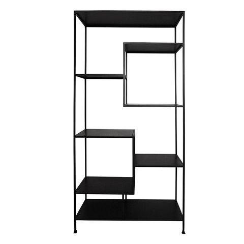 Black Metal Staggered Shelf