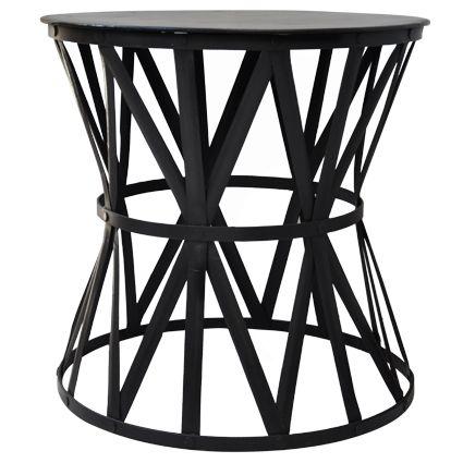 Large Black Iron Drum Table