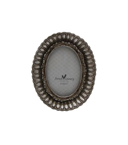 """Fanned Oval Photo Frame Pewter Finish 2.5x3.5"""""""