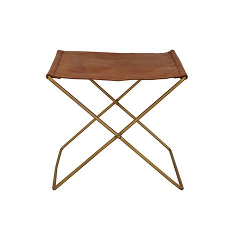 Palma Leather Stool Brown