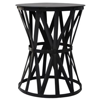 Small Black Iron Drum Side Table