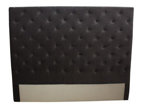Button Bed Head Dark Grey Velvet Queen