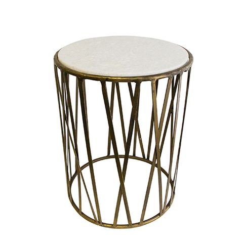 Criss Cross Marble Top Side Table