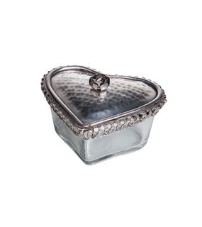 Glass Heart Box With Rose