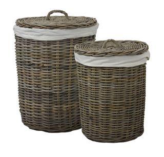SET 2 Round Rattan Laundry Baskets
