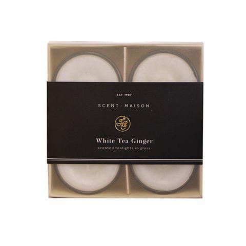 Maison SET 4 Glass Tealights White Tea Ginger