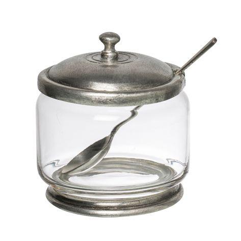 Pewter & Glass Sugar Bowl w/Spoon