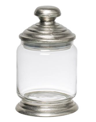 Glass and Pewter Storage Jar