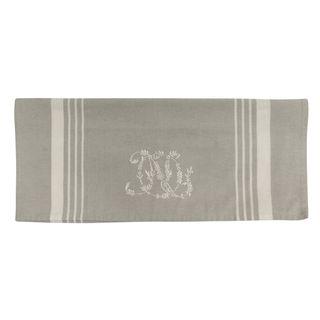 Natural Linen with White Stripe Monogram Teatowel