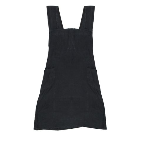 Cross Back Apron Black Stonewashed Linen