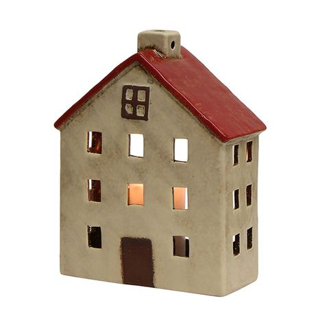 Wide Chalet Tea Light House Red White
