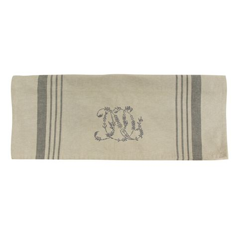 Natural Linen Pale Grey Stripe Monogram Teatowel