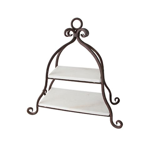 2 Tier Marble Cake Stand