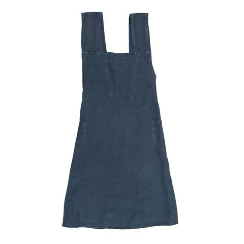 Cross Back Apron Navy Stonewashed Linen
