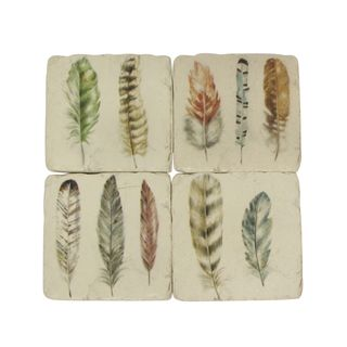 Set of 4 Feather Resin Coasters