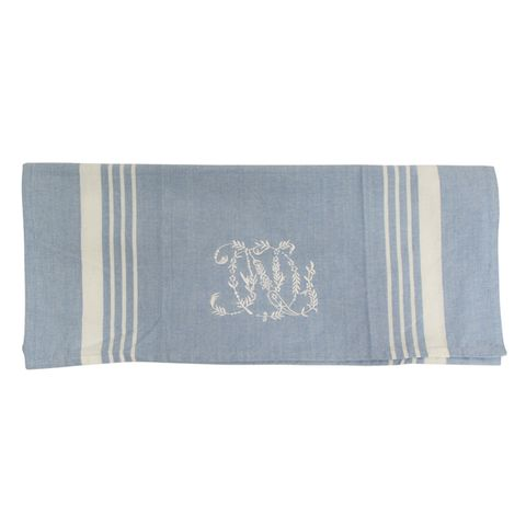 Blue with White Stripe Monogram Teatowel