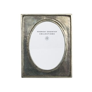 """Pewter Oval Photo Frame  3x4"""""""