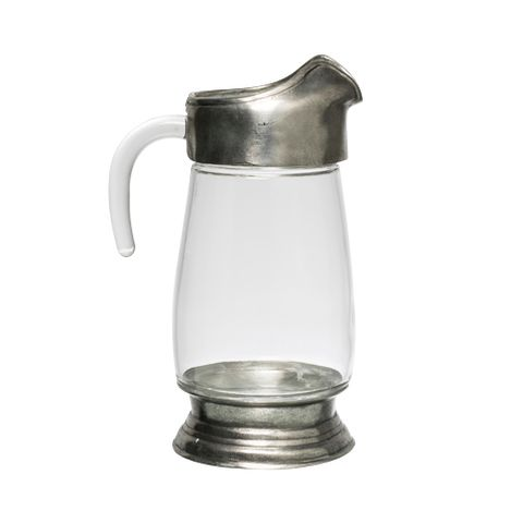Glass and Pewter Large Jug