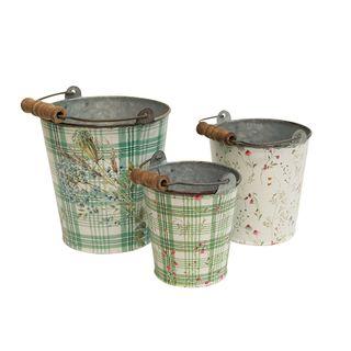 Set 3 Tin Buckets with Handle