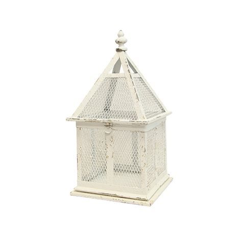 Rustic White Tall Birdcage Small