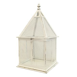 Rustic White Tall Birdcage Large