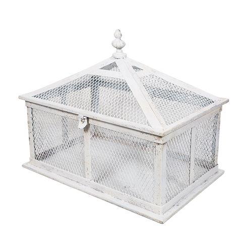 Rustic White Rectangle Birdcage